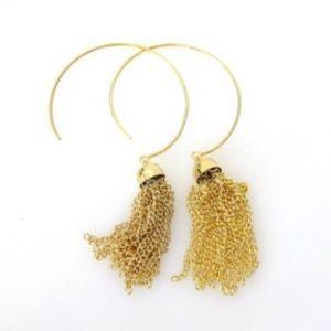 Gold Open Hoop Earrings with Tassels